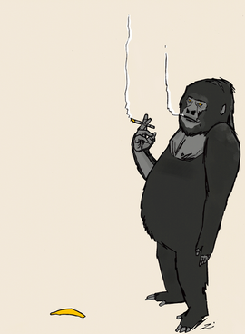 Gorilla with one banana Cropped.png