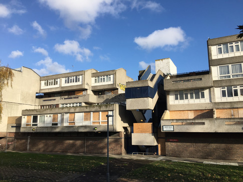 Robert Rigg's brutalism architecture in Thamesmead (currently under regeneration).  Photo by Pepe Puchol-Salort