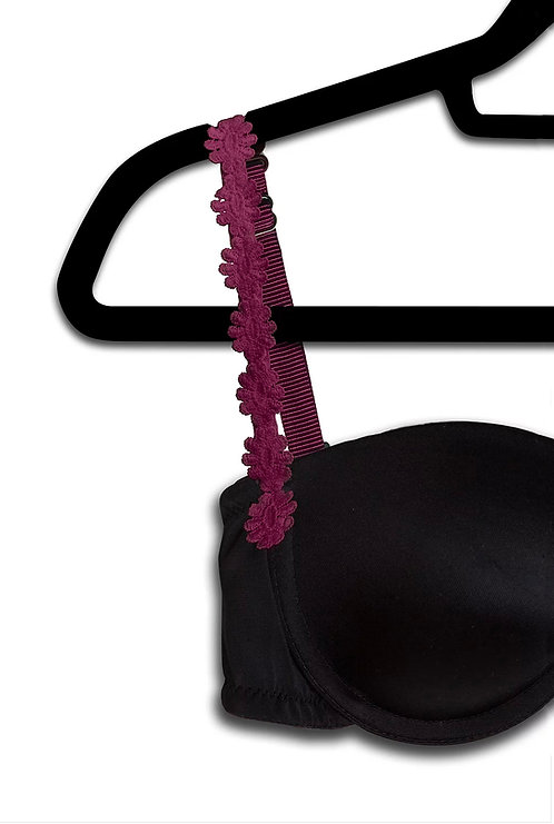 Burgundy Embroidered Flower