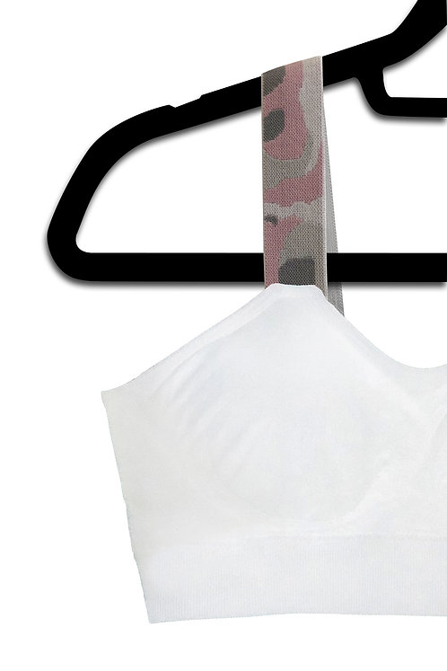 Pink Camo (attached to our white bra)