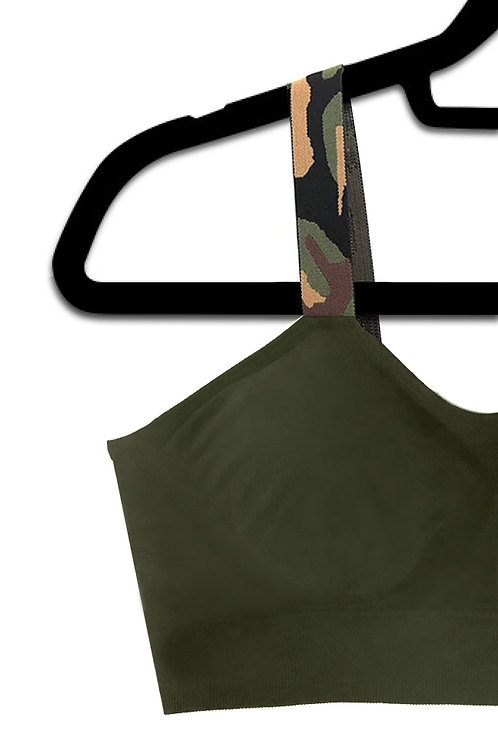 Olive Green Camo (attached to our olive bra)