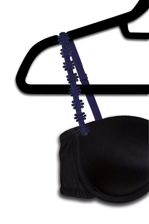 Navy Flower Embroidered Strap
