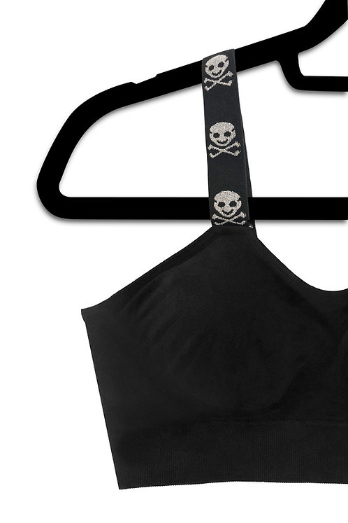 Silver Metallic Skull (attached to our black bra)