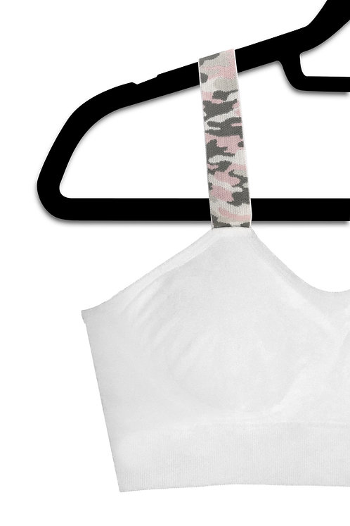 PINK CAMO (attached to our plus size white bra)