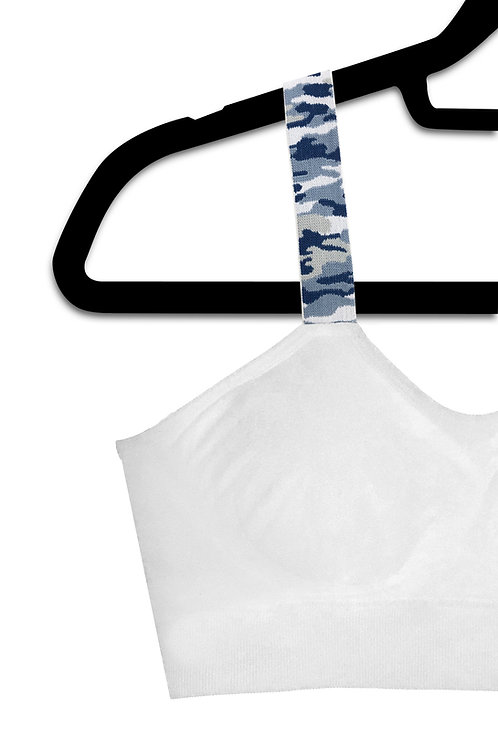 Blue Camo (attached to our white bra)
