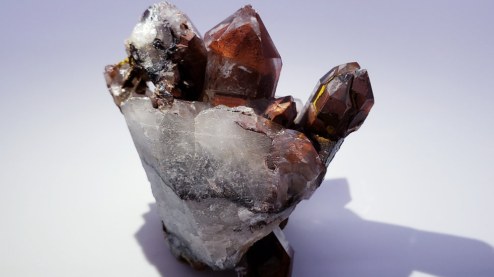Red Hematite Phantom Quartz Crystal Cluster from Orange River, Namibia