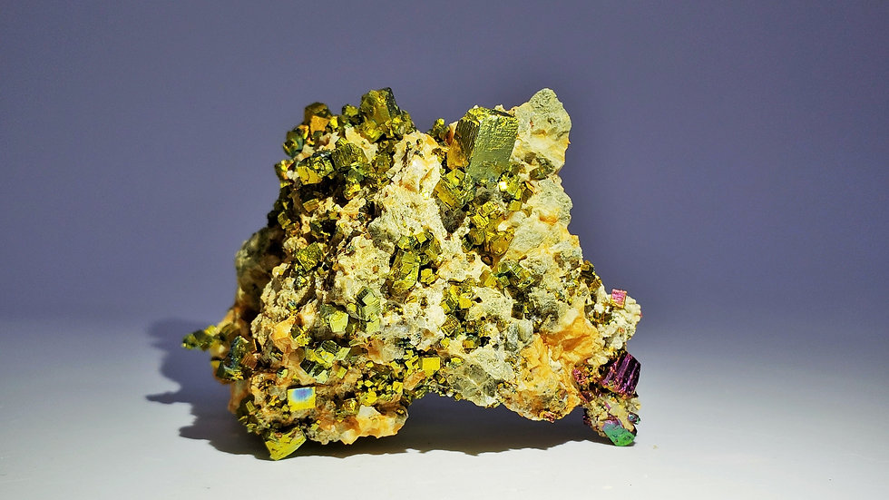 Collector's Piece: Iridescent Pyrite on Dolomite from Shangbao Mine