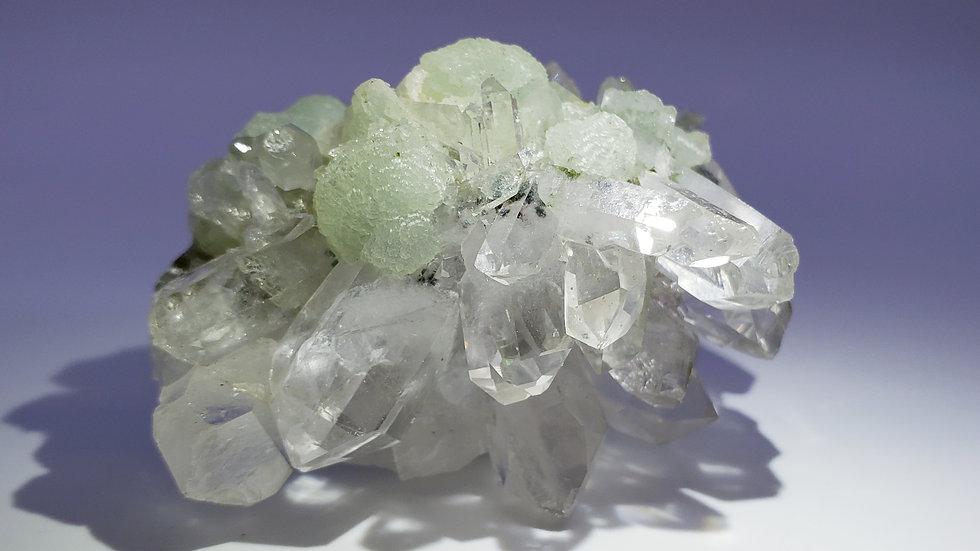 Botryoidal Prehnite, Quartz and Babingtonite Crystals Specimen