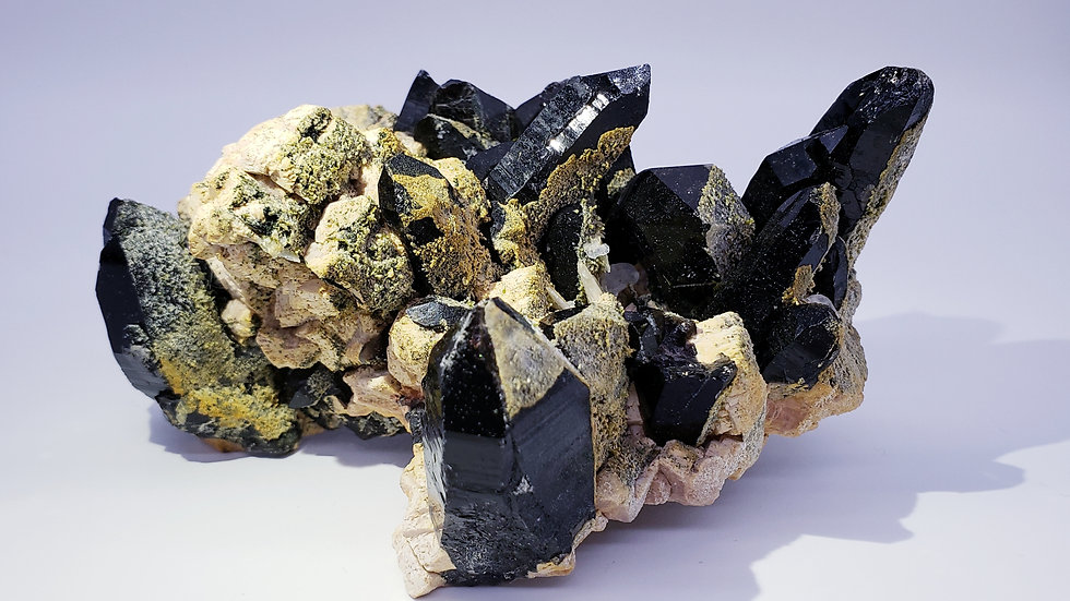 Black Smoky Quartz on Feldpar, with Epidote & Calcite