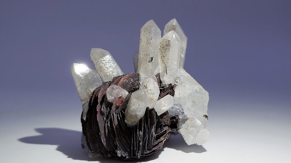 Collector's Piece: Quartz on Hematite var. Specularite from Jinlong Hill, China