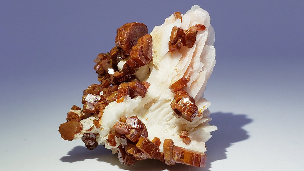Vanadinite Crystals on Barite from Morocco