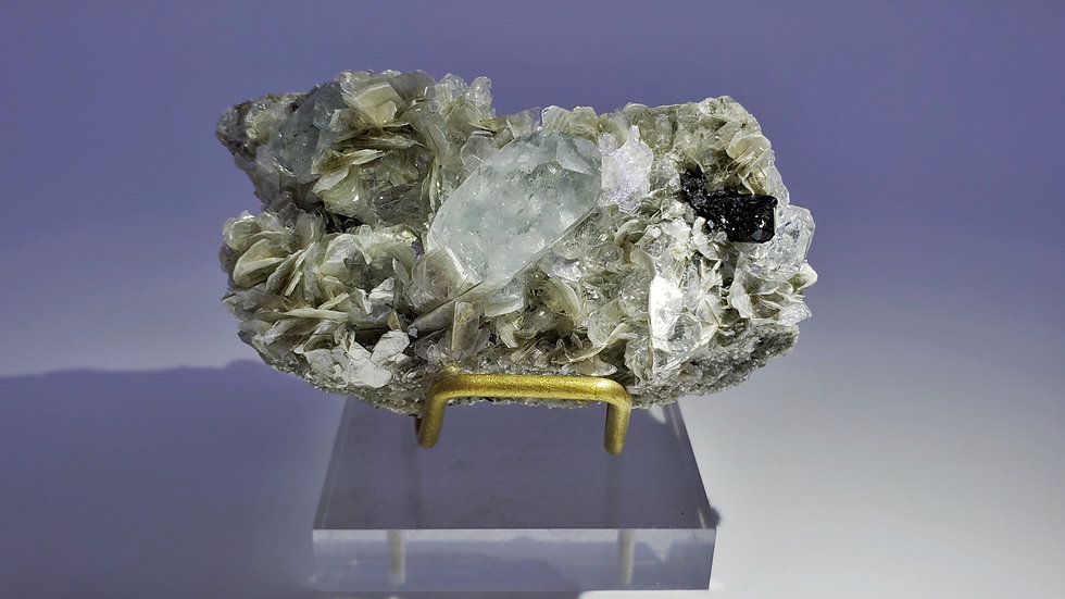 Collector's Piece: Beryl var. Goshenite with Cassiterite and Muscovite, China