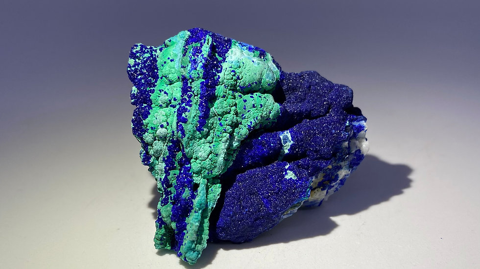 Collector's Piece: Azurite and Malachite pseudomorph after Quartz from China