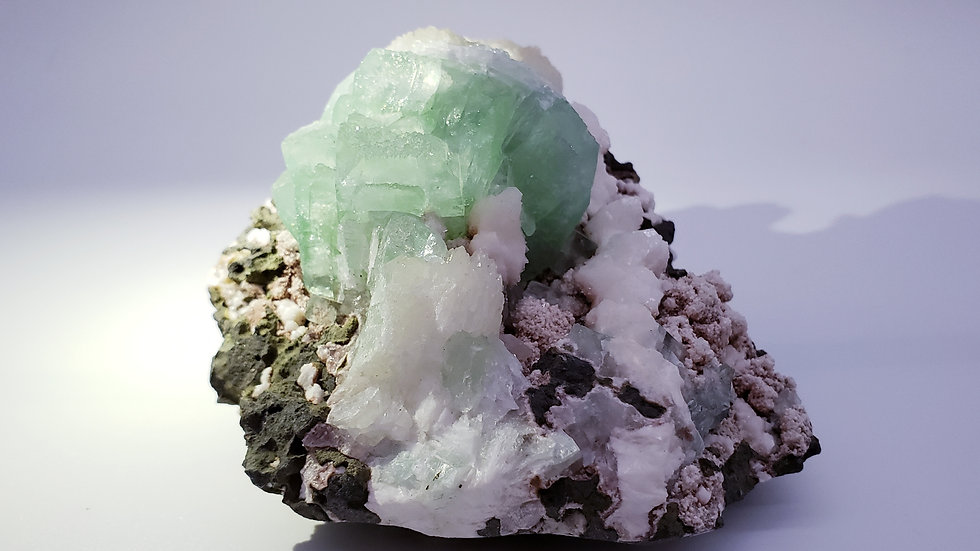Collector's Piece: Green Apophyllite with Stilbite and Heulandite from India