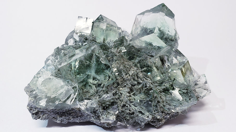 Water-clear Light Sea Green Fluorite Cubes Crystal Cluster from Xianghuapu Mine