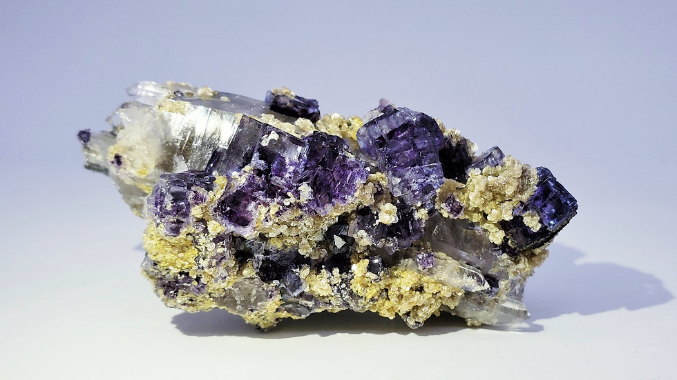 Collector's Piece: Fluorite and Muscovite on Quartz from Yaogangxian Mine