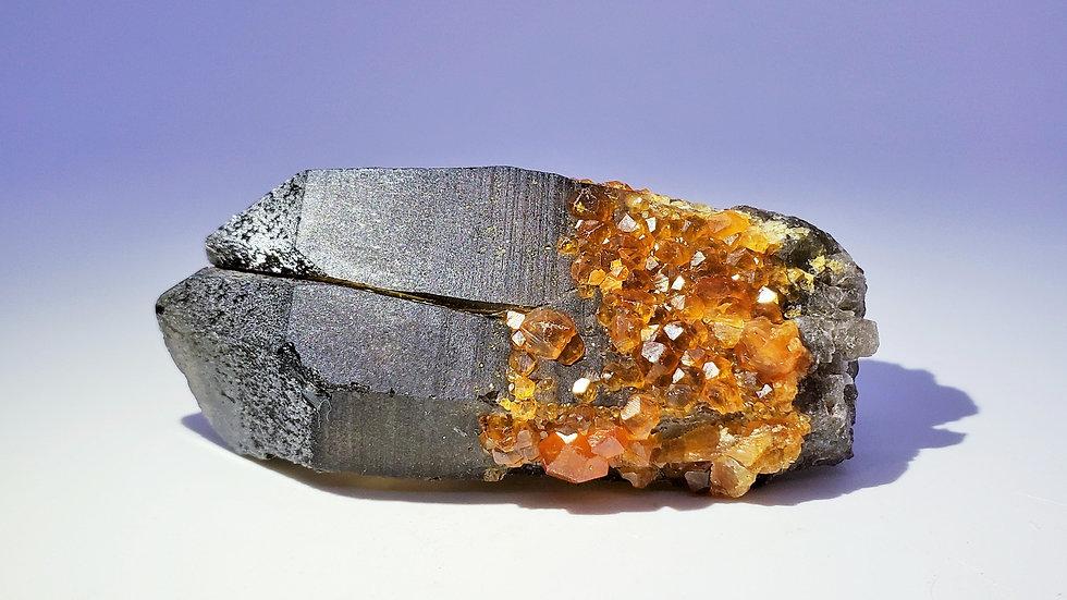 Collector's Piece: Spessartine Garnets on Twin Smoky Quartz from Wushan Mine