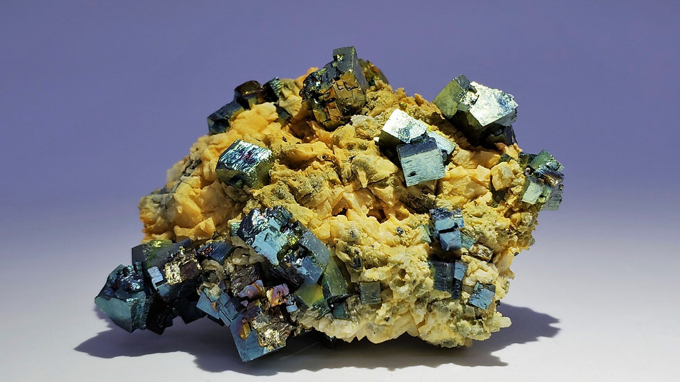 Collector's Piece: Iridescent Pyrite on Dolomite from Shangbao Mine, China