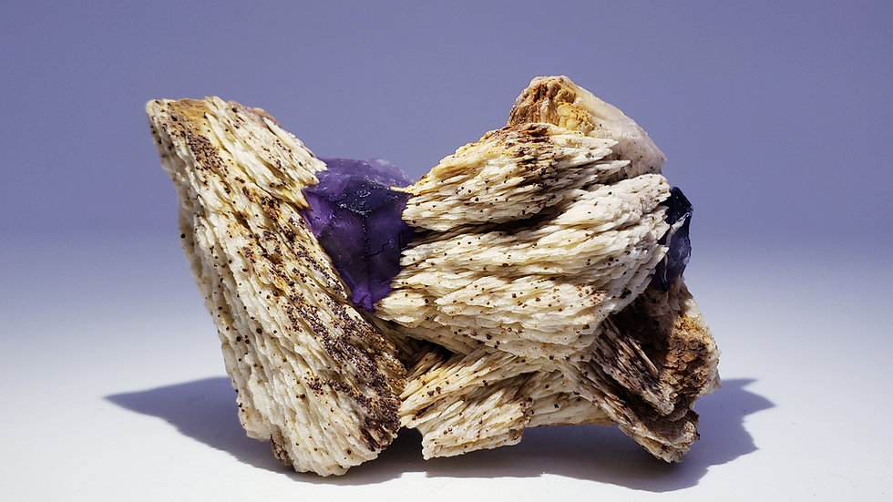 Fluorite on Barite (Baryte) from La Cabaña, Berbes, Spain