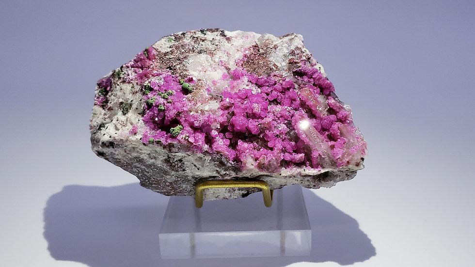 Collector's Piece: Cobaltoan Calcite with Malachite and Quartz from Musonoi Mine