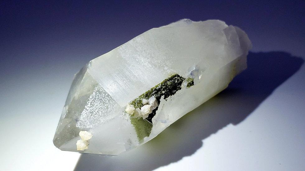 Phantom Quartz Crystal with Epidote and Mica
