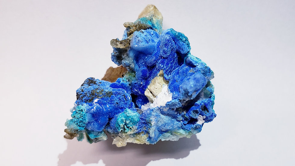 Carbonate Cyanotrichite on Limestone Matrix Specimen