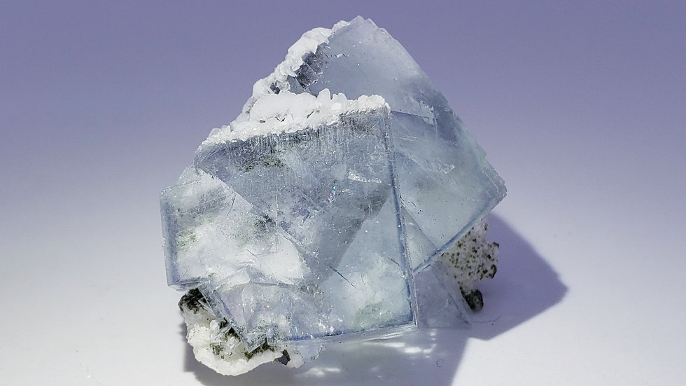 Aqua Blue Fluorite with Mica, Epidote and Wolframite from Yaogangxian Mine