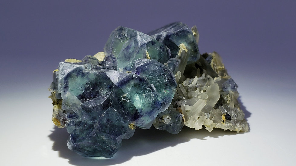 Collector's Piece: Fluorite with Smoky Quartz and Mica from Huanggang Mine