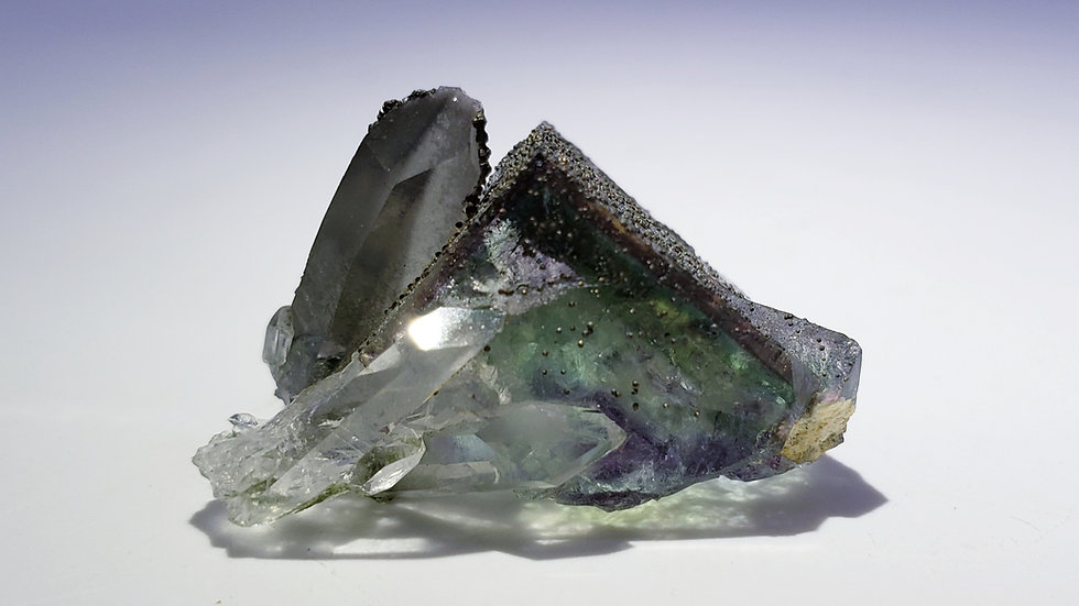Phantom Fluorite with Pyrite and Quartz from Yaogangxian Mine, Hunan, China