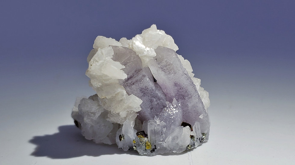 Quartz var. Amethyst with Dolomite and Chalcopyrite from Dongxiang Co., China