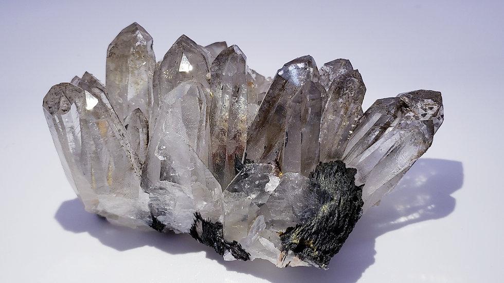 Hematite Var. Specularite and Smokey Quartz Crystals Cluster