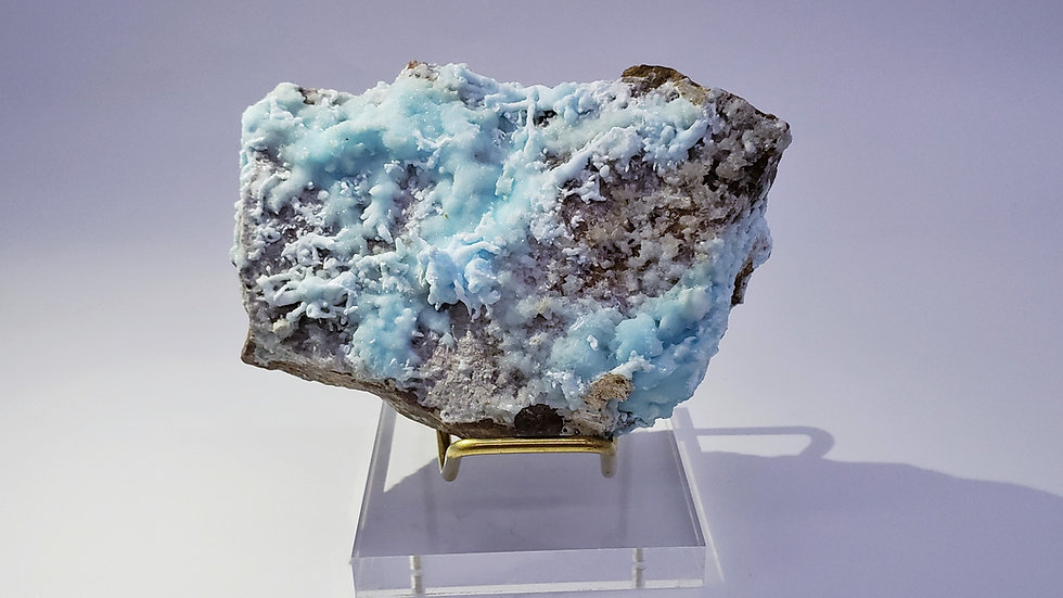 Collector's Piece: Blue Aragonite on Matrix from Wenshan Mine, China