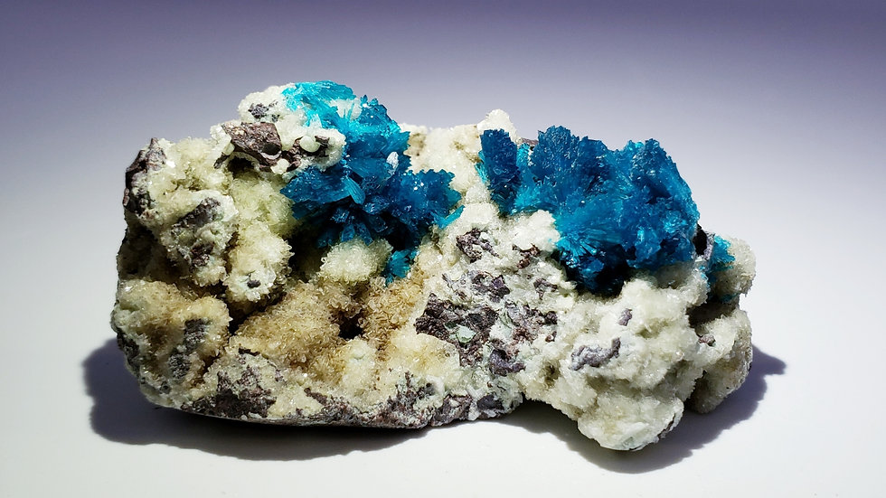 Vivid Blue Pentagonite on Stilbite Matrix from Wagholi Quarry, India