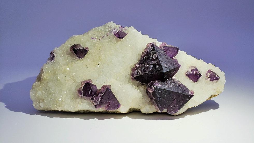 Fluorite on Quartz from De'an Mine, Jiangxi