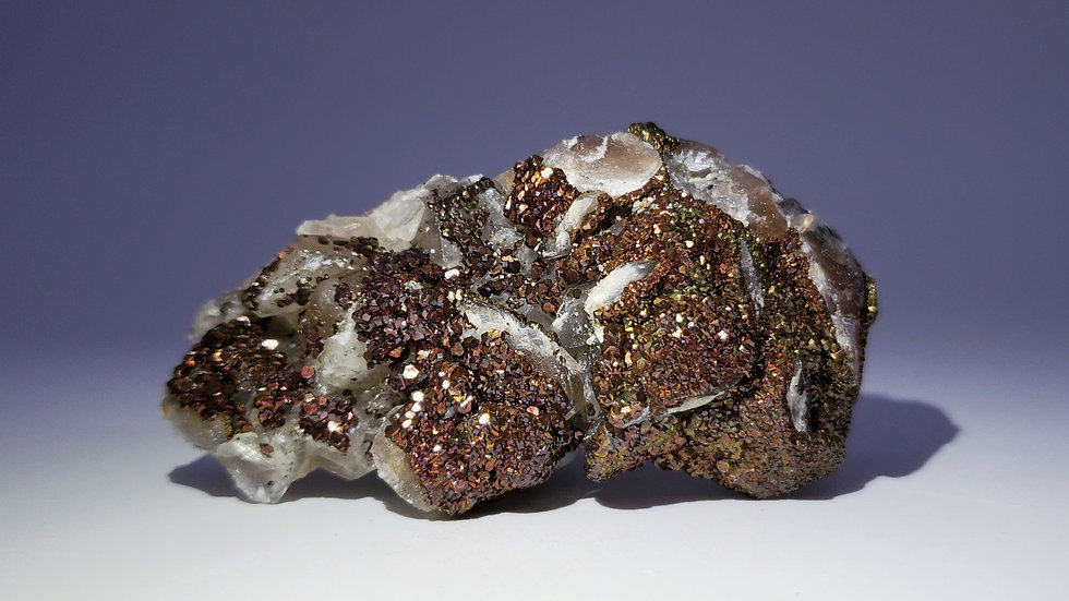 Collector's Piece: Iridescent Chalcopyrite on Calcite from Manaoshan Mine, China