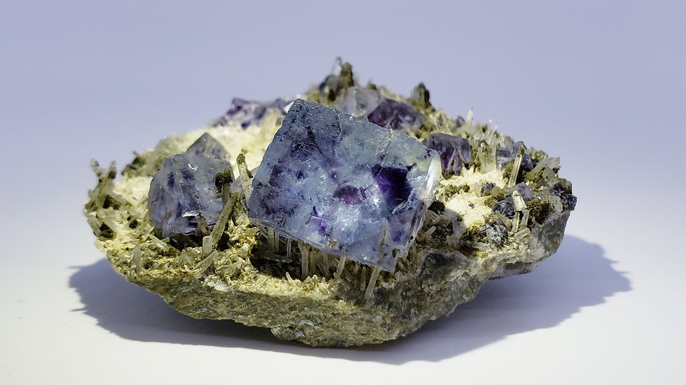 Phantom Fluorite, Quartz Points and Chlorite on Matrix from Inner Mongolia