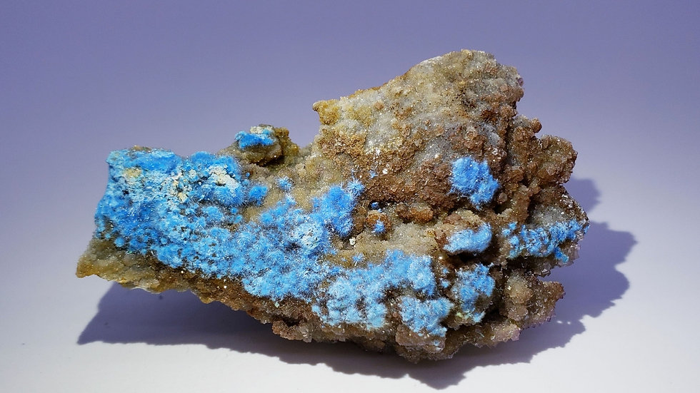 Blue Carbonate Cyanotrichite on Limestone Matrix from Qinglong Mine, China