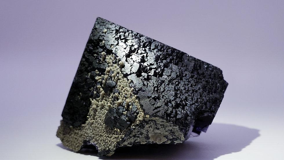 Jet Black Andradite Garnet and Quartz Coated Fluorite from Inner Mongolia