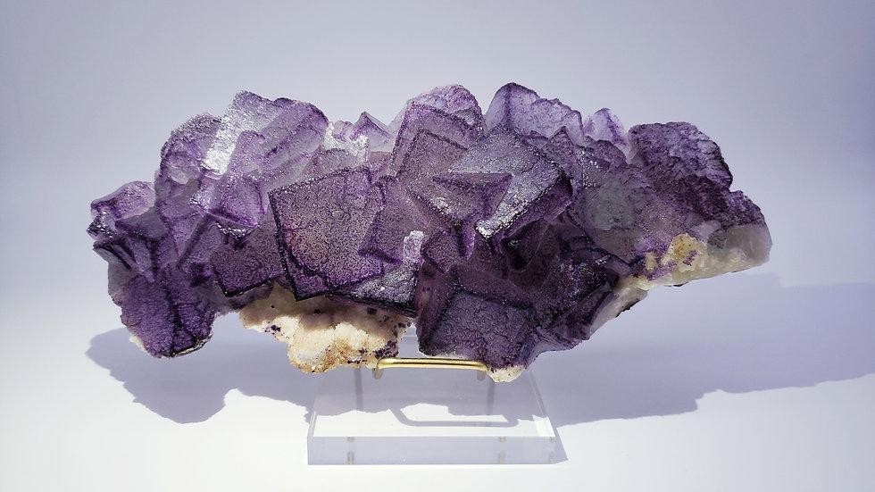 Fluorite (Fluorescent) with Botryoidal Quartz from Qinglong Mine, Guizhou, China