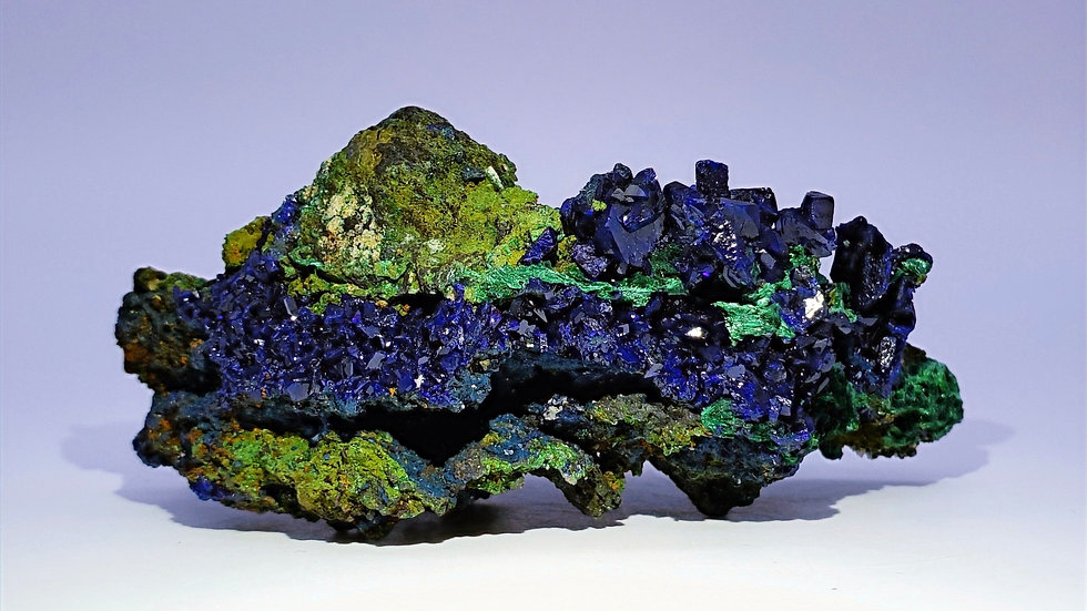 Neon Blue Azurite on Malachite from Sepon Mine, Laos