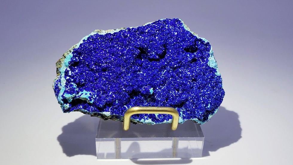 Collector's Piece: Azurite on Gibbsite with Malachite and Goethite from China