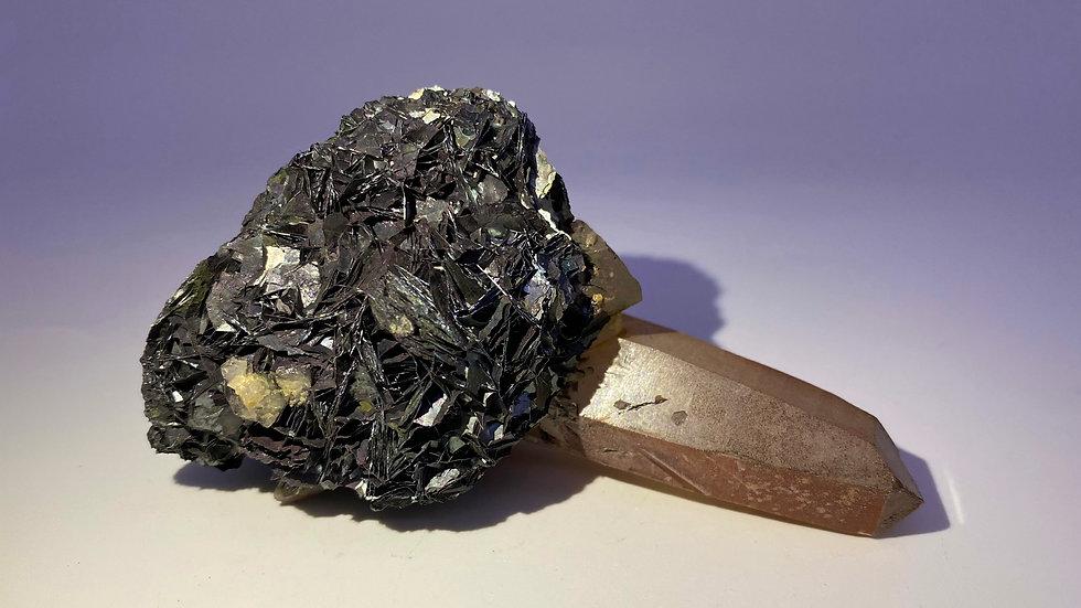 Collector's Piece: Quartz on Hematite var. Specularite from Jinlong Hill