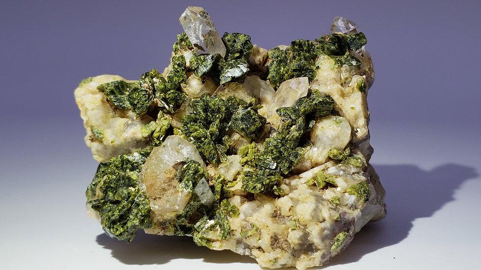 Green Epidote with Quartz from Hongquizhen, China