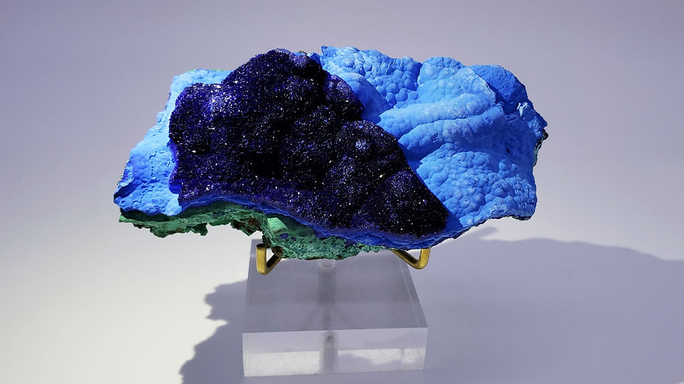 Azurite with Chrysocolla and Malachite from Liufengshan Mine, China