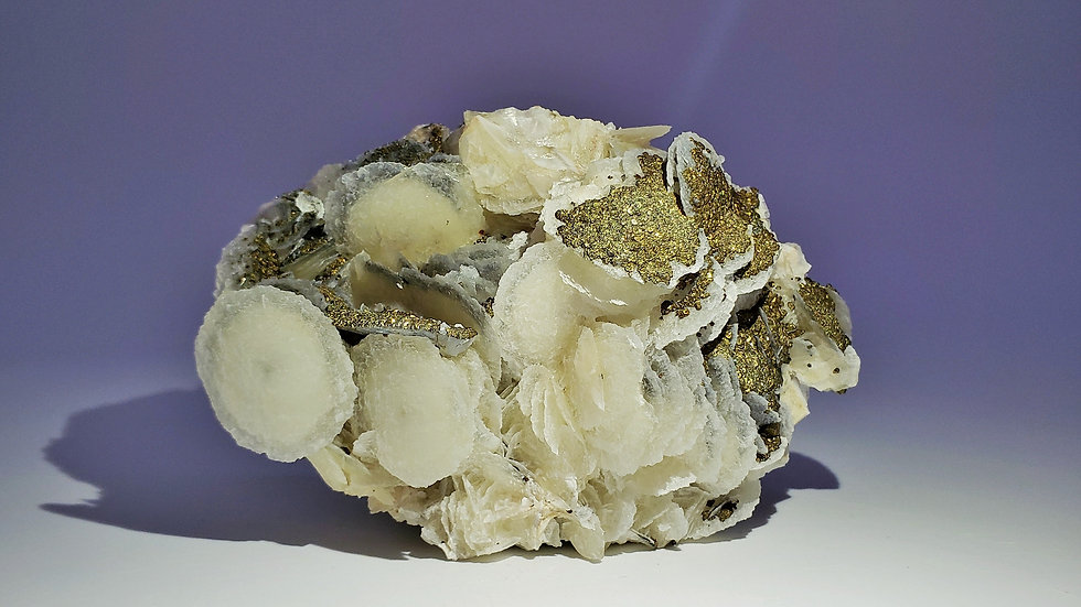 Collector's Piece: Chalcopyrite on Calcite (Fluorescent) from Manaoshan Mine
