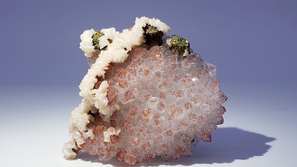 Hematite Tinted Quartz with Dolomite and Chalcopyrite