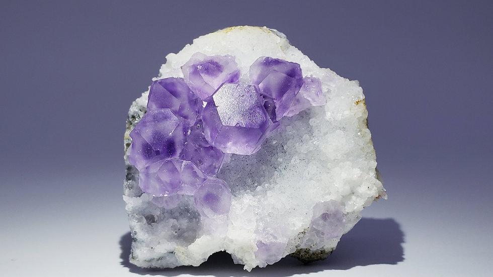Phantom Fluorite on Druzy Quartz from Xiayang Mine