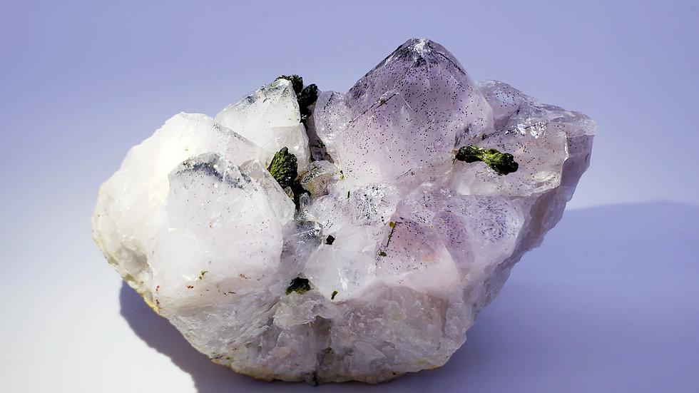 Epidote on Quartz var. Amethyst (Super Seven)