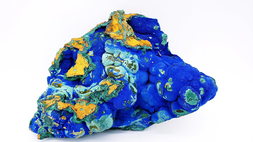 Vivid Royal Blue Azurite and Chrysocolla Pseudomorph After Malachite from Laos