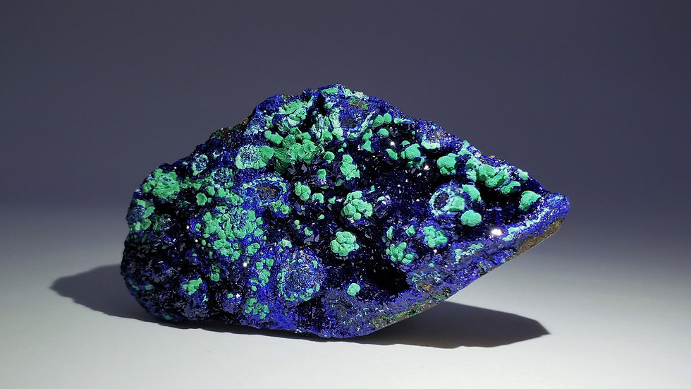 Azurite with Chrysocolla pseudomorph after Malachite from Sepon Mine, Laos